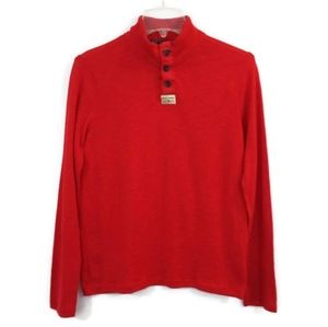 Abercrombie Red Long Sleeve Pull Over Knit Shirt